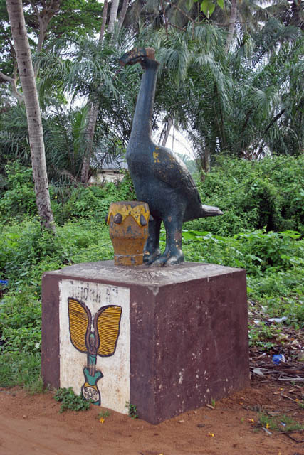 Voodoo symbols along Road of the saves (Route des Esclaves) in Ouidah town. Benin.