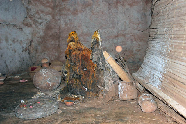 "Altar at Voodoo temple ""Temples des Serpents"", Ouidah town. Benin."