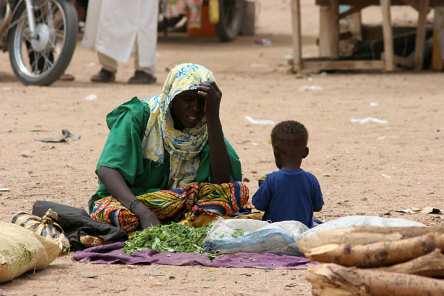 Seller at cattle market at Agadez town. Niger.