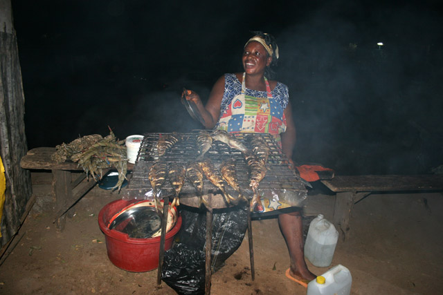 Street stalls with grilled fish are great for dinner. Limbe. Cameroon.