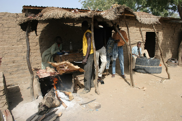 Small snack bar - meat sellers. Lake Chad area. Cameroon.