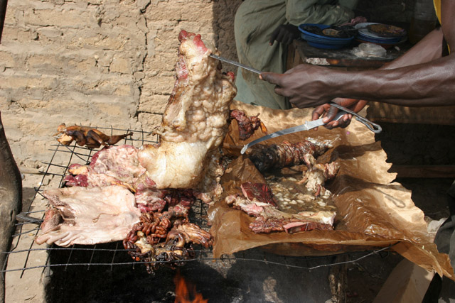 Roast meat is very popular. Lake Chad area. Cameroon.