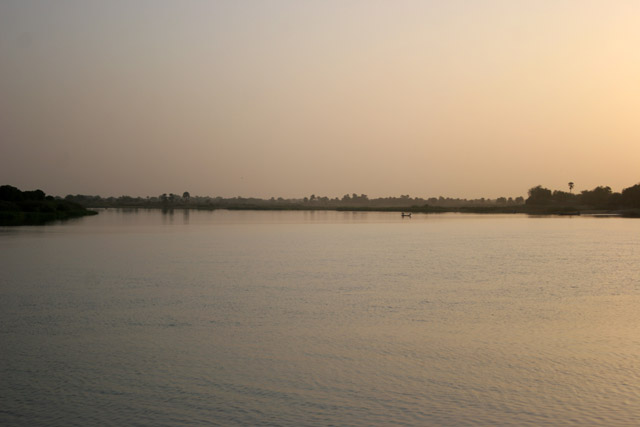 Sunset over Chari river. Lake Chad area. Cameroon.