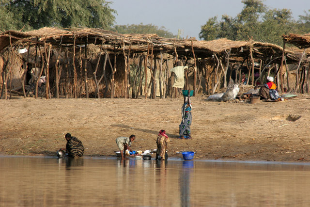 Empty market place at Chari river. Lake Chad area. Cameroon.