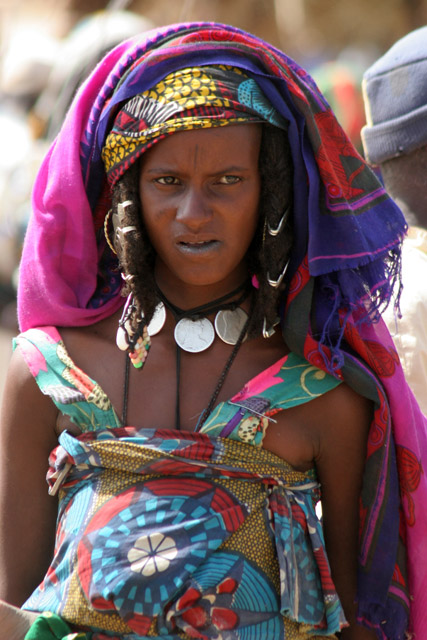 Market at the bank of Chari River. Probably woman from Bororo ethnic. Lake Chad area. Cameroon.