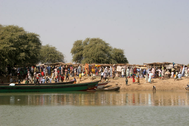 Market at the bank of Chari River. Lake Chad area. Cameroon.
