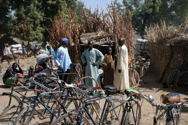 Village market at Kujapa - bicycle section is quite large. Mandara Mountains area. Cameroon.