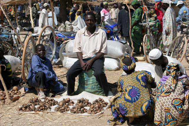 Village market at Kujapa. Mandara Mountains area. Cameroon.
