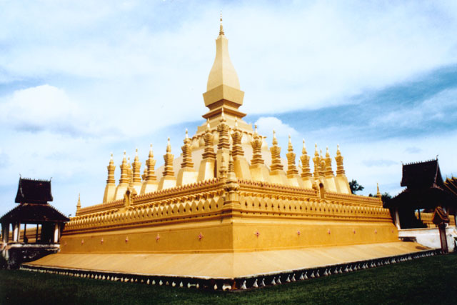 Tha That Luang - the most sacred stupa and also Lao national symbol. Vientiane. Laos.