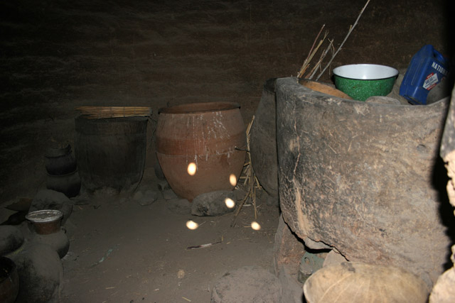 View to the kitchen at King palace at Oudjilla village. Each from 50 wives has this kitchen. Cameroon.
