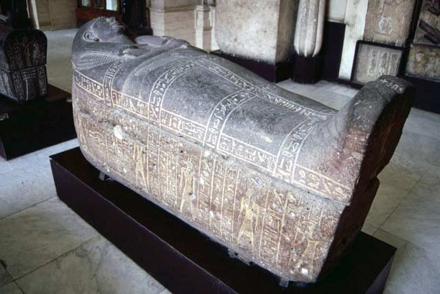 One of the many sarcophagus in Egyptian museum in Cairo. Egypt.