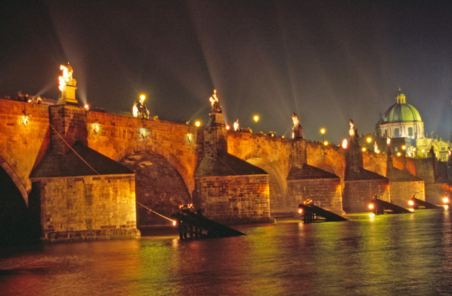 Special lighting at Charles Bridge during Orange Day, Praha. Czech Republic.
