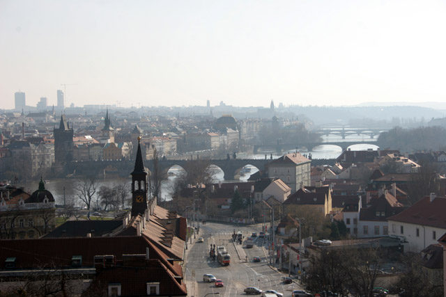 View to Mala Strana and Vltava river brigdes, Praha. Czech Republic.