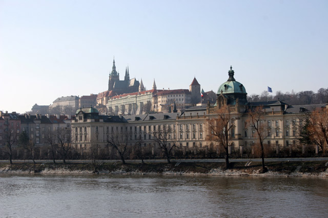 View across the Vltava river to Prague Castle, Praha. Czech Republic.