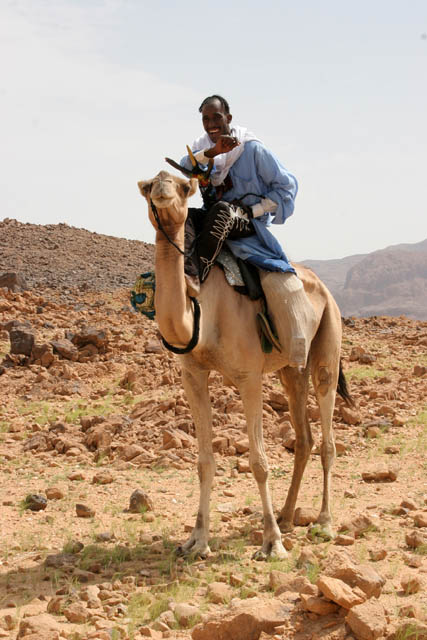 Tuareg man in ceremonial clothes - he is visiting neighboring villages and looking for a wife. Air Mountain area. Niger.