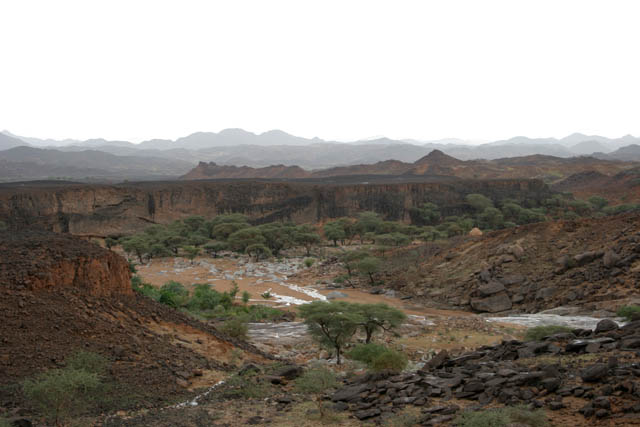 Landscape at Sahara desert at Air Mountain area. At this moment after rain. Niger.