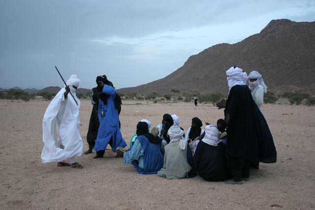 Dancers and musicians at traditional tuareg wedding party. Air Mountain area. Niger.