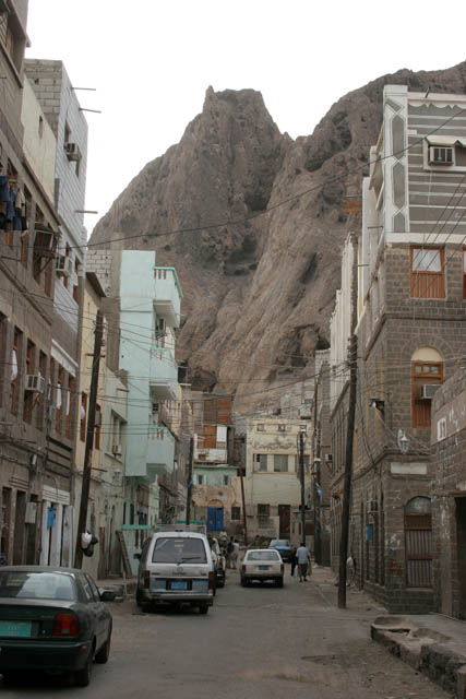 Street at Aden city at part called Crater. Yemen.