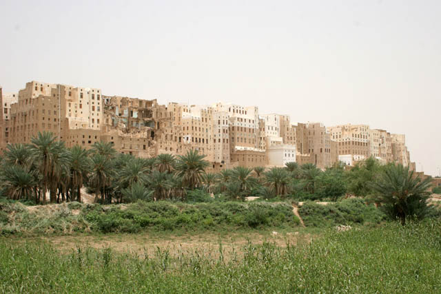View at Shibam town called Manhattan of desert. Most of local houses are mudy-skyscrapers. Wadi Hadramawt area. Yemen.