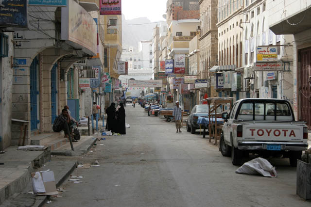 Street at Al-Mukalla port town. Yemen.