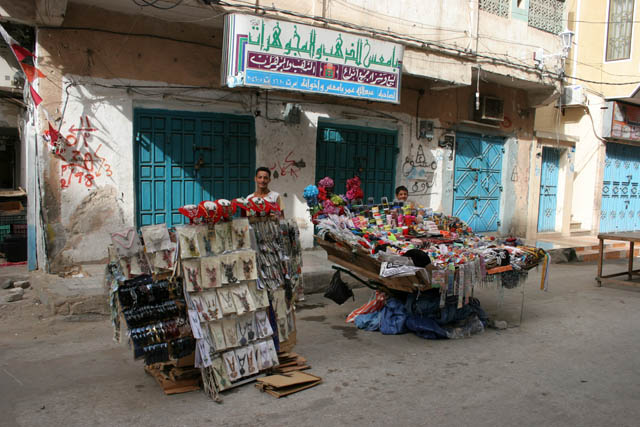 Street vendors at Al-Mukalla port town. Yemen.