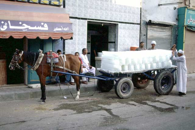 Ice transport. Luxor. Egypt.