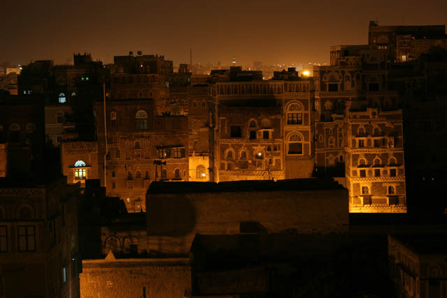 Old Sana at night. Yemen.