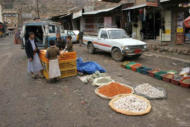 Market at Shibam-Kawkaban village. Yemen.