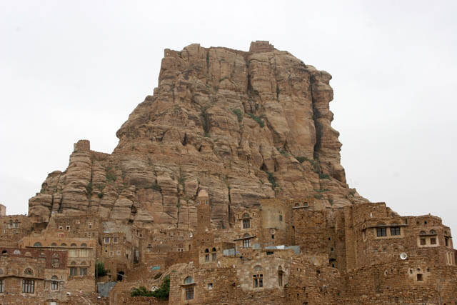 Mountain with fortress is raising upon the Thilla (Thula) village. Yemen.