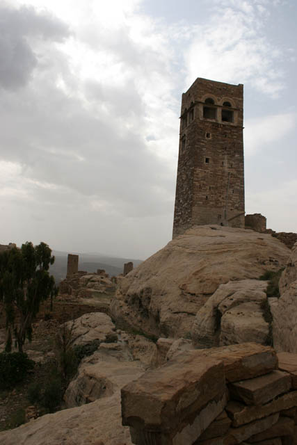 Fortress Husn Thilla is rising upon the Thilla village. Yemen.
