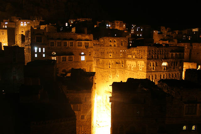 Thilla (Thula) village at the night. Yemen.
