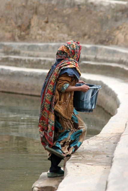 Even today women come for the water to the cistern. Hababah village. Yemen.