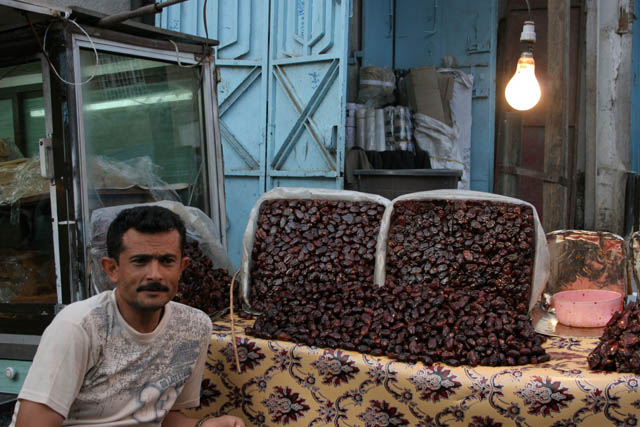 Dates are very popular. Market at center of Ta'izz city. Yemen.
