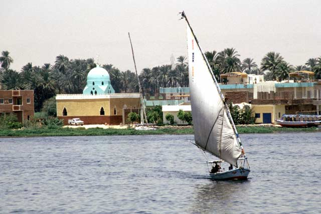 Felluca on the Nil river in Luxor. Egypt.