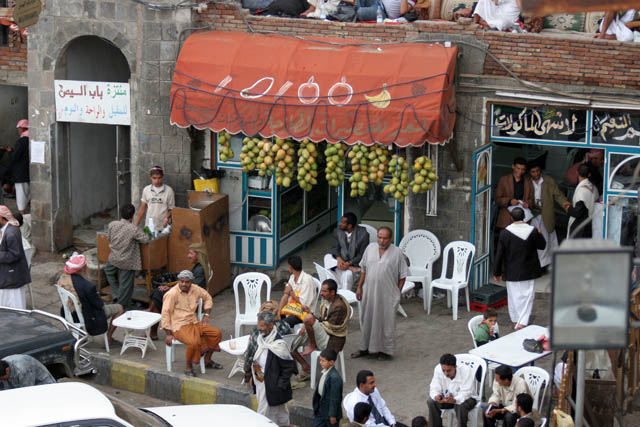 Tea and juice shop. It is very popular among yemenis. Sana city. Yemen.