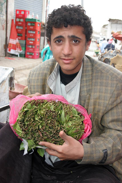 Qat seller. Qat market at Sana city. Yemen.