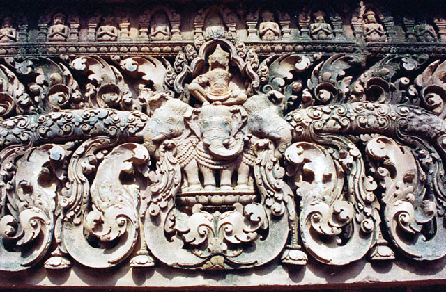 Decoration of Banteay Srei. Angkor Wat temples area. Cambodia.