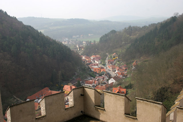 View to the village, Karlstejn Castle. Czech Republic.