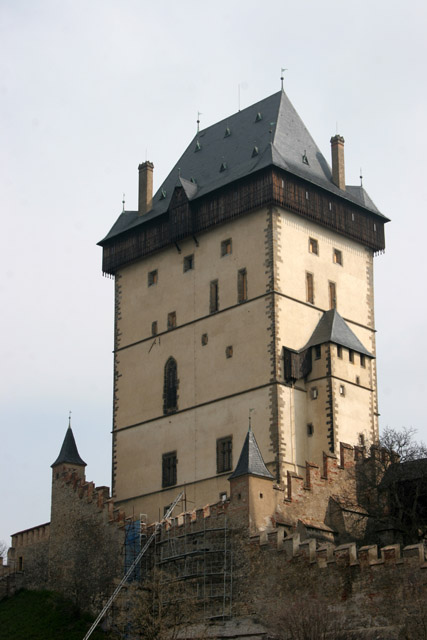 Karlstejn Castle. Gothic castle founded in 1348 by Charles IV. The castle served as a place for safekeeping of royal treasures, the Empire coronation jewels and holy relics. Czech Republic.