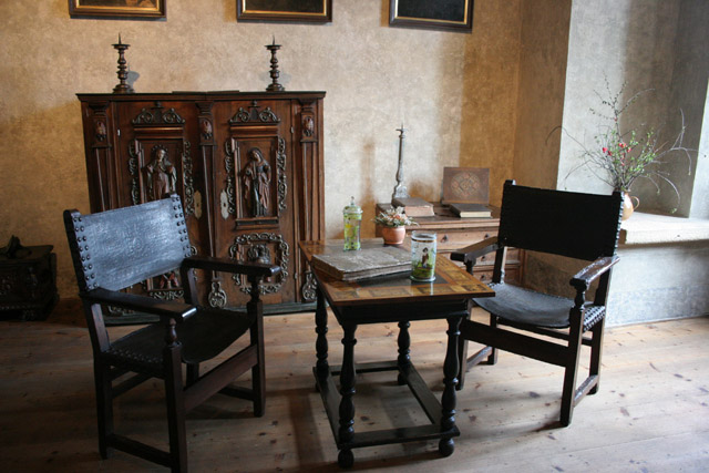 Original furniture, Karlstejn Castle. Czech Republic.