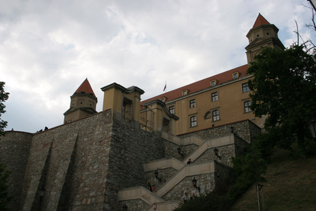 Bratislava Castle from 13th century is massive rectangular building with four corner towers. The Castle is located on the top of the hill of the Little Carpathians directly above the Danube river in the middle of Bratislava. Slovakia.