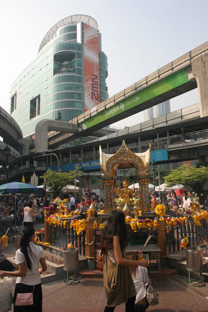 Erawan Shrine (San Phra Phrom) is situated in the middle of modern buildings, Bangkok. Thailand.