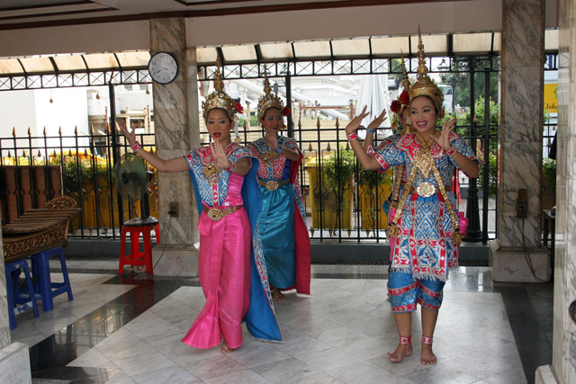 Erawan Shrine (San Phra Phrom), dancing performance brings you a good luck, happiness or love, Bangkok. Thailand.