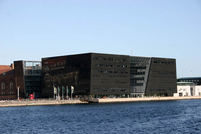 Black Diamond is called this building. It is Royal Danish Library building. Copenhagen. Denmark.