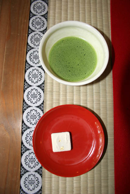 Snack which you can get at traditional tea room at Kinkaku-ji temple, Kyoto. Japan.
