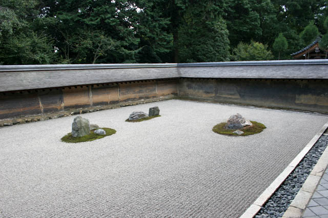 Famous karesansui (dry landscape) rock garden inside Ryoan-ji temple. It has been built in the late 1400s. Kyoto. Japan.