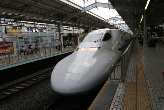 Shinkansen express train. Train station at Kyoto. Japan.