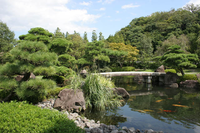 Koko-en garden at Himeji town. It is nice example of typical japanese garden. Japan.