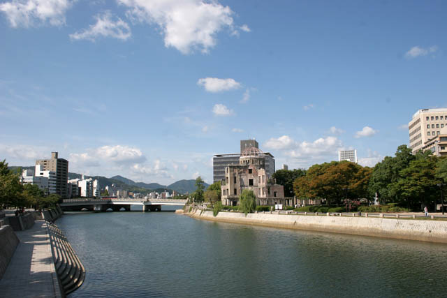 View to Aioi river. Hiroshima city. Japan.