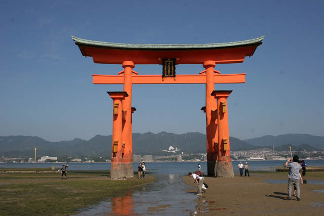 The Torii (gateway) at Miyajima Island is traditonal gateway of Itsukushima Shrine. It is sometimes called floating torii. Japan.